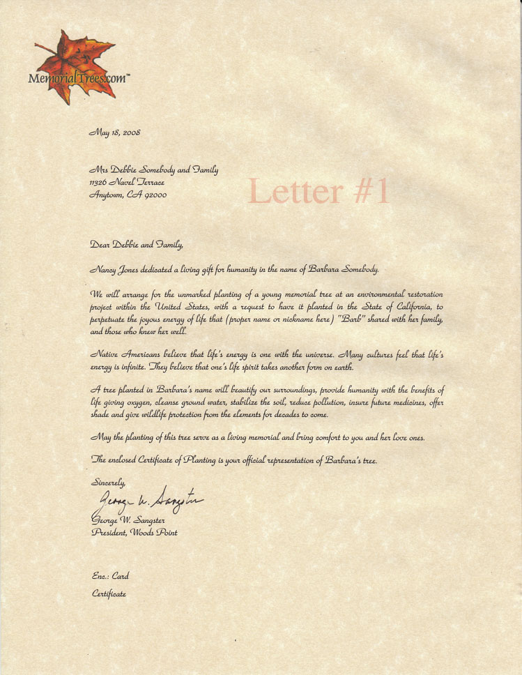 Sample Sympathy Letters Memorial Trees – Sample of Sympathy Letter