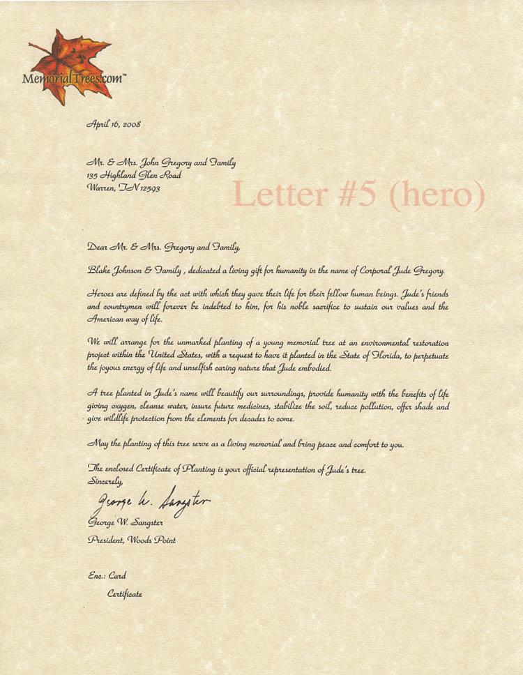 Sympathy letter for hero