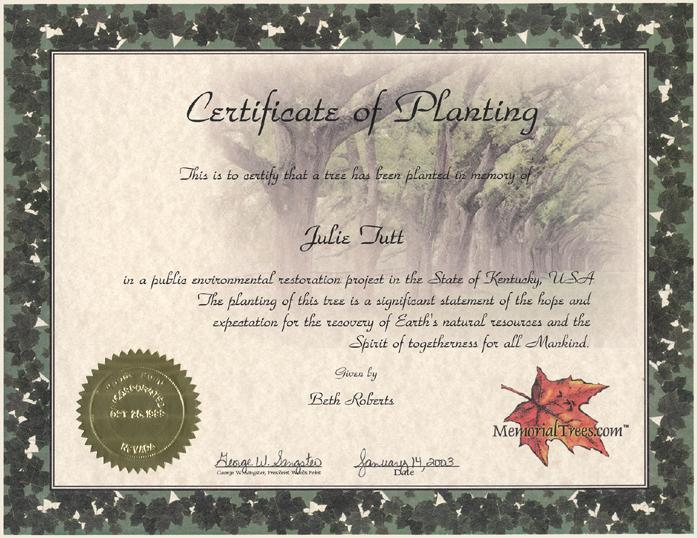 Certificate of planting suitable for framing and beautifully designed contact us yelopaper Gallery